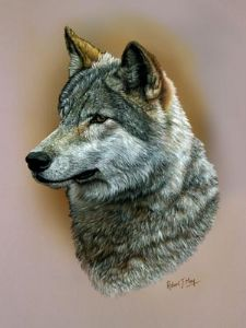 Original Wolf Head Study Painting